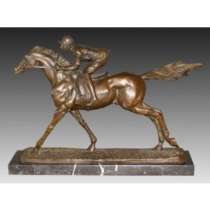 Jockey Bronze Sculpture On Marble Base 39cm