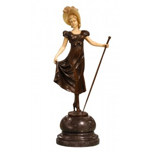 Lady With Hat Holding Stick On Marble Base