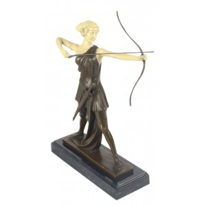 Lady Archer Sculpture On Marble Base 33cm