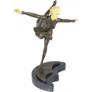 Lady Skating Sculpture On Marble Base 31cm