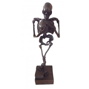 Skeleton Holding Skull Sculpt On Marble Base