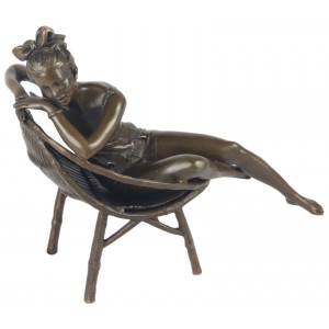 Bronze Girl On Seat 23cm