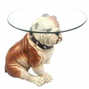 British Bulldog Glass Top Table