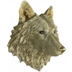 Gold Wolf Head Wall Art 46.5cm