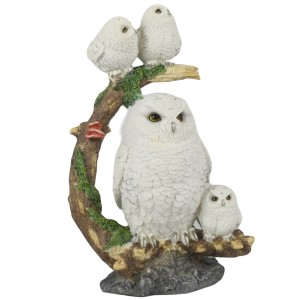 Owl and Owlets On Tree Statue 31.5cm