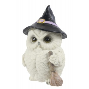 Owl Witch and Broomstick 18cm