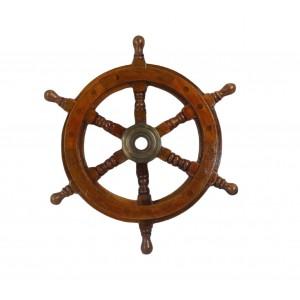 Nautical Ship Wheel - Wood/Brass Antique 30.5cm
