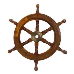 Nautical Ship Wheel - Wood/Brass Antique 46cm