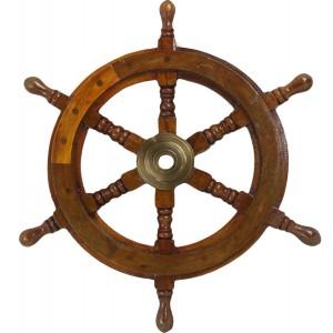 Nautical Ship Wheel - Wood/Brass Antique 91.5cm