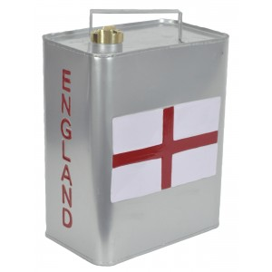 St George Flag England Silver Oil Can 33cm