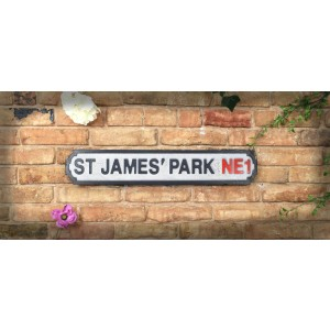 Vintage Road Sign St James Park NE1 (Newcastle United FC)