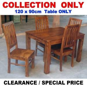 Acacia Lisbon Dining Table 120x90cm + 4 Chairs