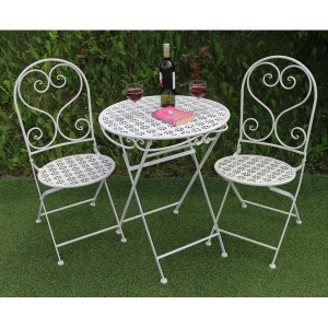 Flower Metal Patio Table & 2 Folding Chairs Set