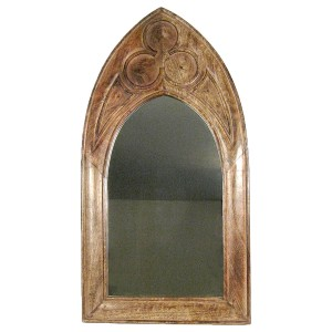 Mango Wood Arched Gothic Mirror (Large)
