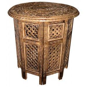 Mango Wood Ornate Round Folding Table