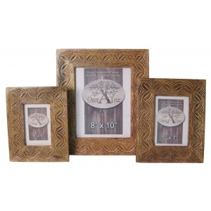 Mango Wood Celtic Design Photo Frames - Set/3