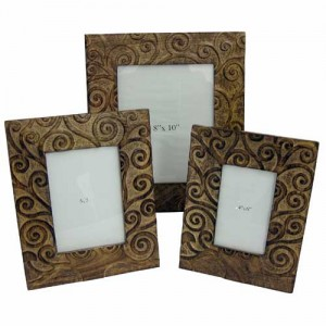 Mango Wood Tree of Life Design Photo Frames Set/3