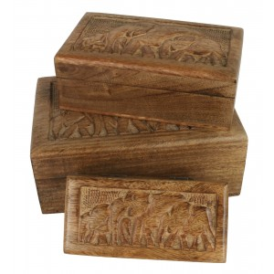 Mango Wood Elephant Design Trinket Jewellery Boxes