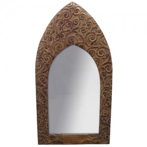 "Mango Wood Arched Gothic Mirror Tree of Life Design - 36""x19"""