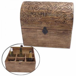 Mango Wood Tree Of Life Design Wine Box