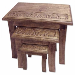 Mango Wood Elephant Design Nest Of Tables