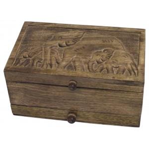 Mango Wood Elephant Design Jewellery Box
