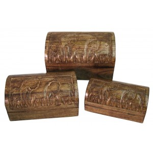 Mango Wood Elephant Design Domed Trinket Jewellery Boxes - Set/3