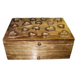 Mango Wood Heart Design Vanity Jewellery Box