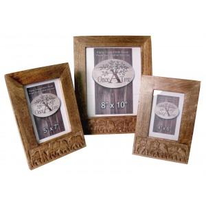 Mango Wood Elephant Design Photo Frames Set/3