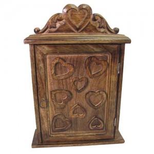 Mango Wood Key Box Heart Design