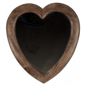 Mango Wood Heart Shape Mirror
