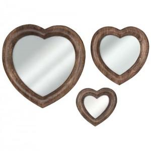 Mango Wood Heart Shape Mirrors - Set of 3