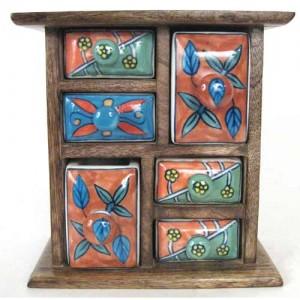 Mango Wood Ceramic Almirah Spice Trinket Chest - 6 Drawers