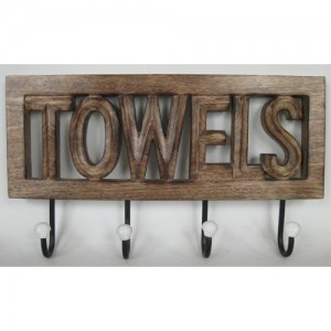 Mango Wood Wall Hooks 'Towels'
