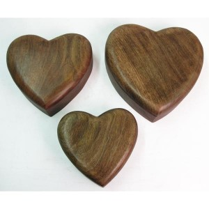 Mango Wood Heart Shaped Trinket Jewellery Boxes - Set/3
