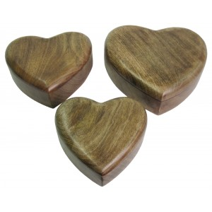 Mango Wood Heart Shaped Trinket Jewellery Boxes - Set/3
