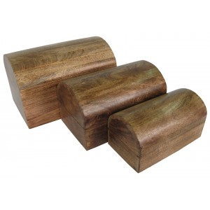 Mango Wood Domed Jewellery/Trinket Boxes - Set/3