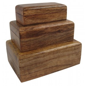 Mango Wood Oblong Jewellery/Trinket Boxes - Set/3