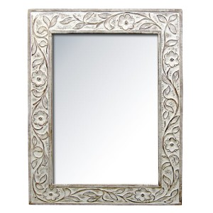 Mango Wood Mirror - Burnt White Finish