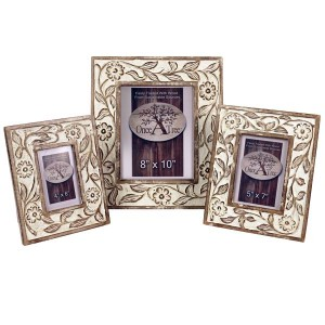 Mango Wood Photo Frames Burnt White Flower Design - Set/3