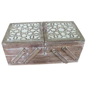 Mango Wood Flexible Sewing Box - Burnt White Finish