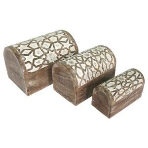 Mango Wood Star Design Domed Trinket Jewellery Boxes - Set/3