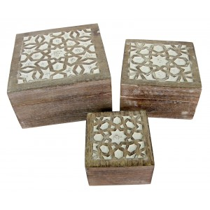 Mango Wood Star Design Set/3 Square Boxes - Burnt White Finish