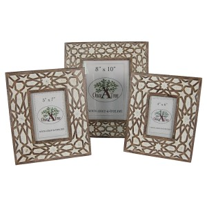 Mango Wood Burnt White Finish Photo Frames - Set/3