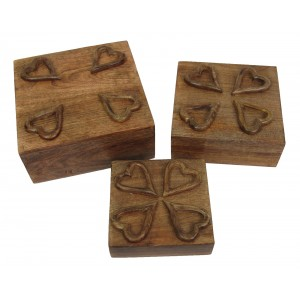Mango Wood Heart Design Square Trinket Jewellery Boxes - Set/3