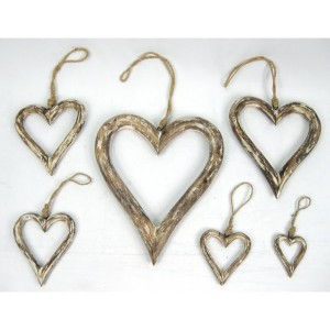 Set Of 6 White Hanging Hearts