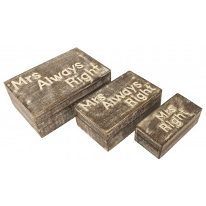 Mango Wood Mrs Always Right Trinket Jewellery Decorative Boxes