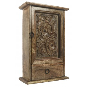 Mango Wood Key Box with Drawer Flower Design