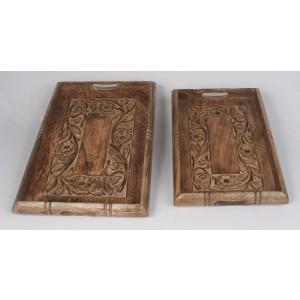 Mango Wood Flower Design Trays Set/2