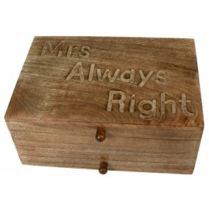 Mango Wood Mrs Always Right Vanity Jewellery Box